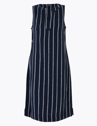 Marks and Spencer Linen Striped V-Neck Shift Dress