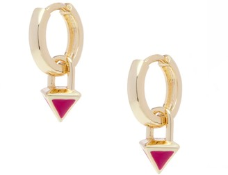 All We Are Atlas Pyramid Drop Huggie Earring - Berry