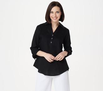 Halston H by Woven Button Front Shirt with Tie Sleeve Detail