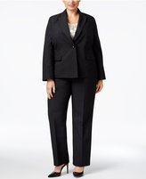Le Suit Plus Size Damask-Stripe Three-Piece Pantsuit