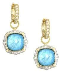 Jude Frances Light Apatite, Mother-of-Pearl, Clear Quartz Triplet, Diamond& 18K Yellow Gold Earring Charms