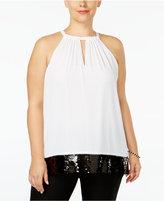 MICHAEL Michael Kors Size Sequin-Trim Halter Top