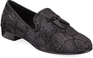 Giuseppe Zanotti Men's Kevin Embossed Slip-On Evening Shoes