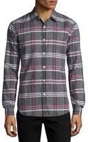 Theory Rammy Mantra Plaid Linen-Cotton Shirt, Gray
