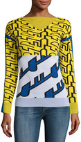 Kenzo Long-Sleeve Graphic Knit Top, White/Yellow