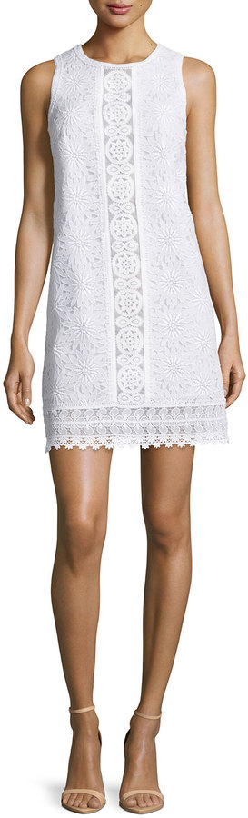 Andrew Gn Sleeveless Lace Shift Dress, White