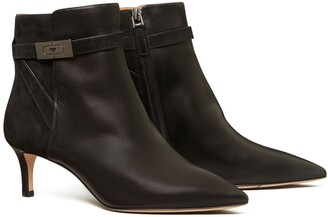 Tory Burch T Hardware Mixed-Materials Ankle Boot