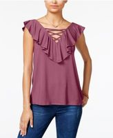 Hippe Rose Juniors' Lace-Up Ruffled Top