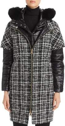 Herno Fur-Trim Houndstooth Mixed Media Coat