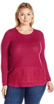 Lucky Brand Women's Plus Size Lace Mix Sweater