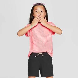 Cat & Jack Girls' Short Sleeve Stripe Pocket T-Shirt Pink XL