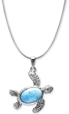 "Marahlago Larimar Turtle 21"" Pendant Necklace in Sterling Silver"