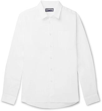 Vilebrequin White Caroubis Linen Button Down Shirt