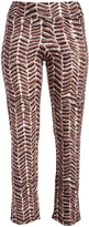 Glam Brown & White Geometric Straight-Leg Pants - Plus