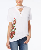 Freeze 24-7 Juniors' Lace-Up Rose Graphic Top