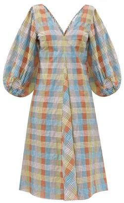 Ganni Checked Cotton-blend Seersucker Tent Dress - Multi