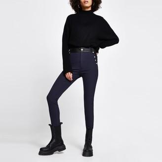 River Island Womens Navy high waist button trouser