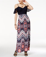 Trixxi Juniors' Cold-Shoulder Printed Maxi Dress