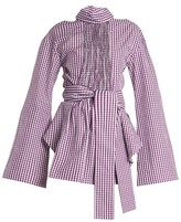 Teija Cut-out Cotton-gingham Wrap Top - Womens - Purple White