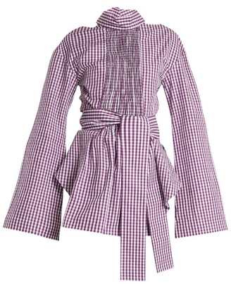 Teija Cut Out Cotton Gingham Wrap Top - Womens - Purple White