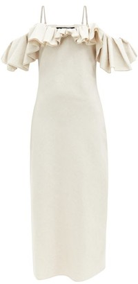 Jacquemus Pampelonne Off-the-shoulder Cotton-blend Dress - Light Beige