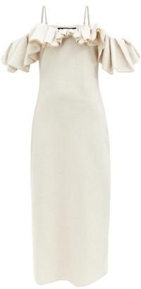 Jacquemus Pampelonne Off-the-shoulder Cotton-blend Dress - Light Beige