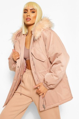 boohoo Tonal Faux Fur Trim Luxe Parka