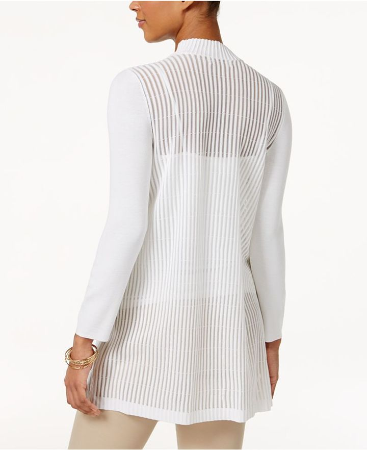 JM Collection Draped Shadow-Stripe Cardigan, Created for Macy's