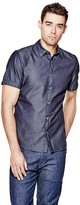 GUESS Short-Sleeve Refined Chambray Slim-Fit Shirt