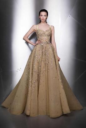 Ziad Nakad Sleeveless Sweetheart Neck A-Line Gown