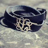 Anna Lou of London Personalised Leather Wrap Monogram Bracelet