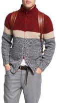 Brunello Cucinelli Striped Wool-Cashmere-Silk Zip-Front Cardigan