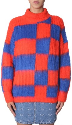 MSGM Checked Turtleneck Oversized Sweater