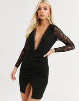 Asos Design DESIGN long sleeve lace insert wrap mini dress