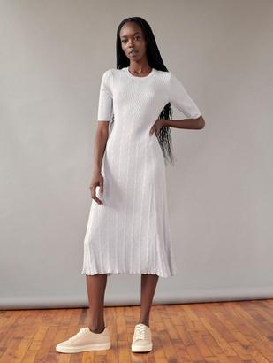 White + Warren Cotton Chevron Stitch Midi Dress
