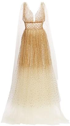 Oscar de la Renta Embellished Tulle Cape Gown