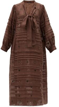Vita Kin - Constellation Embroidered Linen Midi Dress - Brown