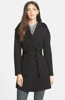 Trina Turk Petite Women's 'Shelly Ali' Hooded Wool Gabardine Wrap Coat