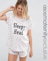 Asos Sleepy Head Slogan Floral Print Short and Tee Pajama Set