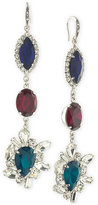 ABS by Allen Schwartz Silver-Tone Tri-Color Crystal Drop Earrings