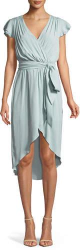 Alice + Olivia Ilissa Flutter-Sleeve Silk Wrap Dress