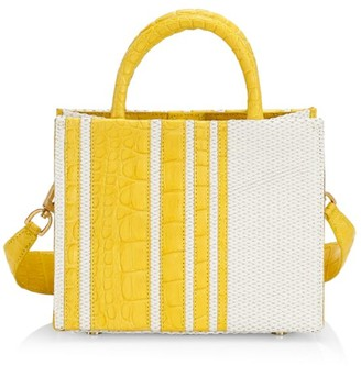 Nancy Gonzalez Mini Emma Stripe Crocodile & Raffia Tote