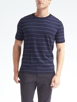 Stripe Silk Cotton Cashmere Short-Sleeve Pullover
