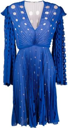 Marco De Vincenzo Laser-Cut Pleated Midi Dress