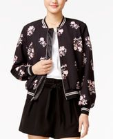 SHIFT Juniors' Floral-Print Bomber Jacket, Created for Macy's