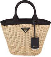Prada Midollino Small Wicker & Canvas Tote Bag