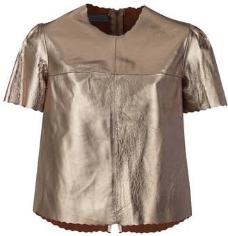 Parker Metallic Leather Tee - Pewter