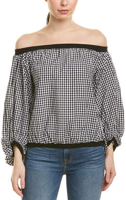 7 For All Mankind Seven 7 Gingham Blouson Sleeve Top