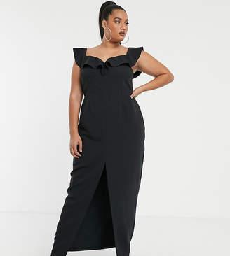 Bardot Vesper Curve Vesper Plus maxi dress with frill in black