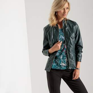 Anne Weyburn Fitted Faux Leather Jacket